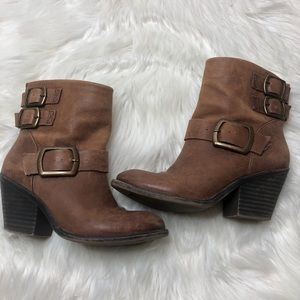 LUCKY BRAND Leather Ankle Booties | 6m | Brown